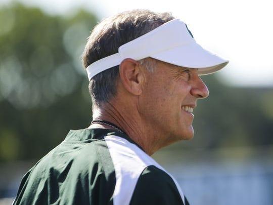 Michigan State coach Mark Dantonio watches practice