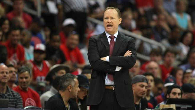 Atlanta Hawks head coach Mike Budenholzer coaches against the Washington Wizards in the first quarter in game one of the second round of the NBA Playoffs. at Philips Arena.