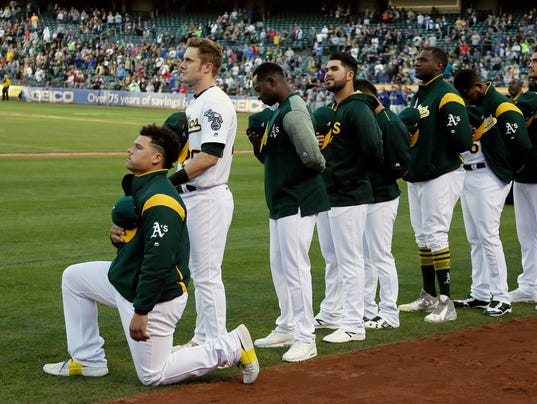 AP APTOPIX ATHLETICS ANTHEM PROTEST BASEBALL S BBA USA CA