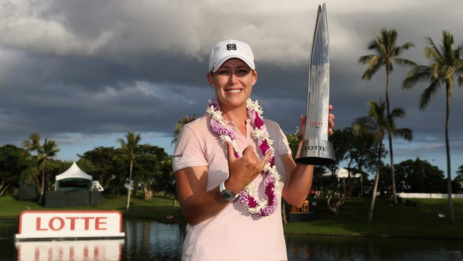 Cristie Kerr poses with the trophy after winning in the final round of the LPGA LOTTE Championship Presented By Hershey at Ko Olina Golf Club on April 15, 2017 in Kapolei, Hawaii.