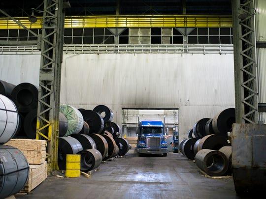 Piles of slit coils inside Camden Yards Steel Tuesday, Feb. 20, 2018 in Camden, N.J.