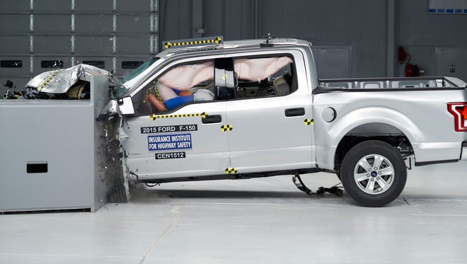 The Ford F-150 is crash-tested by Insurance Institute for Highway Safety.