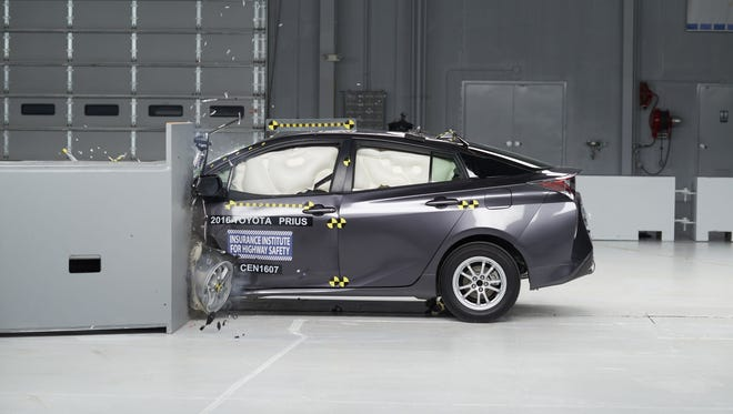 The Toyota Prius earned the Insurance Institute for Highway Safety's Top Safety Pick+ honors after a series of evaluations, including this crash test.