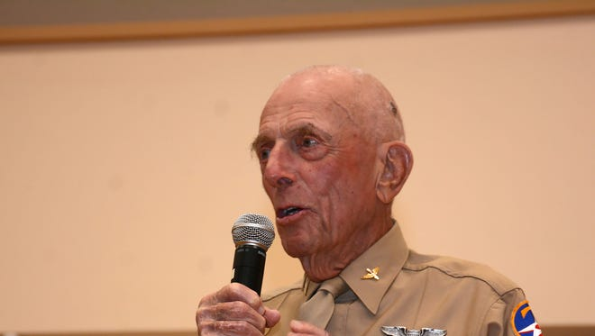 Jerry Yellin, who flew the last combat mission of World War II, spoke on the value of transcendental meditation to combat PTSD Monday evening at Faith Lutheran Church.