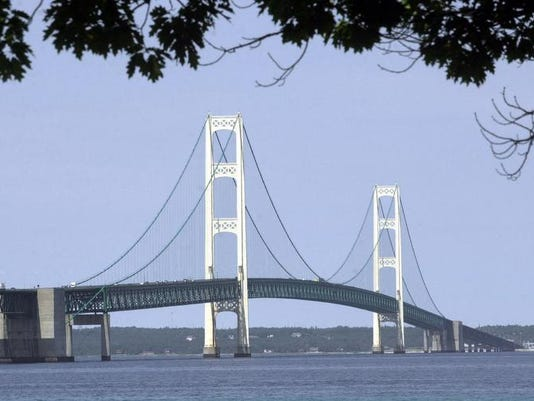 The Mackinac Bridge is shown from Mackinaw City, Mich.