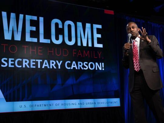 HUD Secretary Ben Carson speaks to employees on his