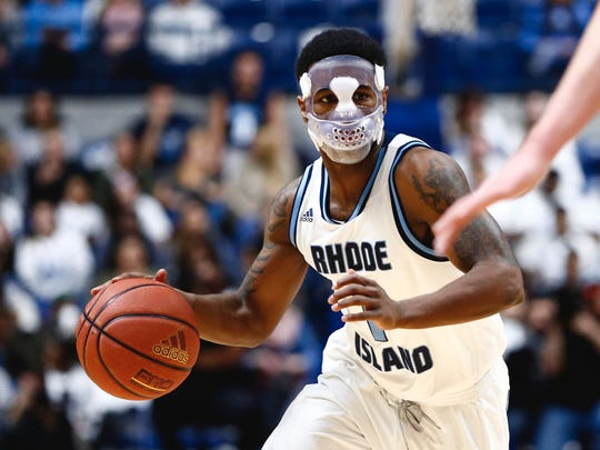 Jarvis Garrett of Rhode Island, a West Allis native, wore a mask last year after sustaining a broken nose.