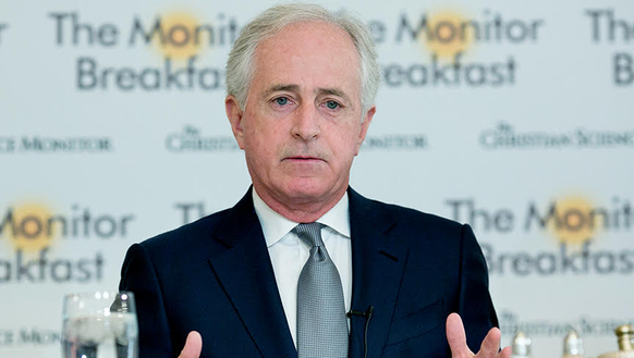 Sen. Bob Corker, R-Tenn., speaks to reporters at a