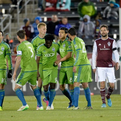 Apr 18, 2015; Commerce City, CO, USA; Seattle Sounders
