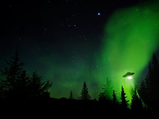 Illustration of UFO landing
