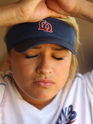 La Quinta High School softgball player Mia Olvera reacts to her team not being able to put a girl on base during the fourth inning down against Torrance. The Blackhawks lost 9-0 at home during their CIF semifinal game.