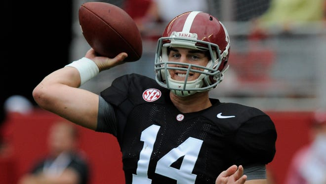 Alabama quarterback Jake Coker (14) warms up before the A-Day Spring Game at Bryant-Denny Stadium in Tuscaloosa, Ala. on Saturday April 18, 2015.