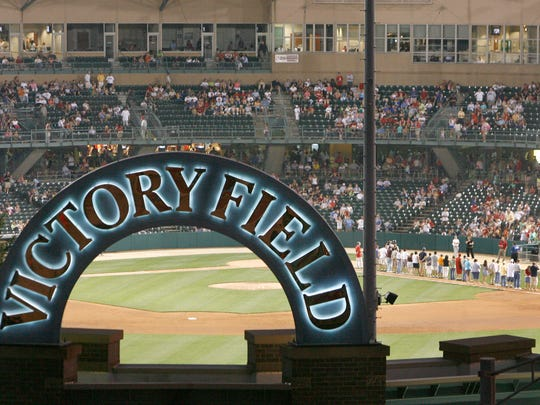 View of Victory Field looking southwest from state government parking garage at West and Washington streets, with Indianapolis Indians hosting the Louisville Bats Saturday August 30.  (Joe Vitti / Indianapolis Star)