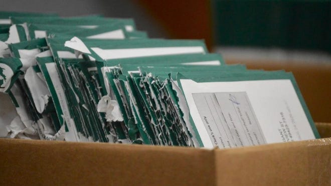 Tallied mail-in ballots submitted for a special Holland election sit in a box Aug. 27 at Holland City Hall.