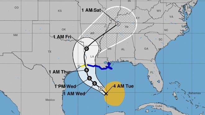 The forecast path shows a tropical storm hitting Louisiana on Thursday.