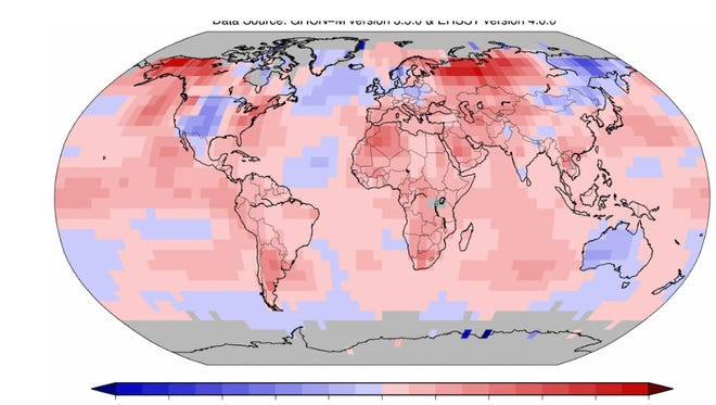 As a whole, the Earth had its warmest May on record. Areas in red and pink were warmer-than-average, while areas in blue were cooler-than-average.