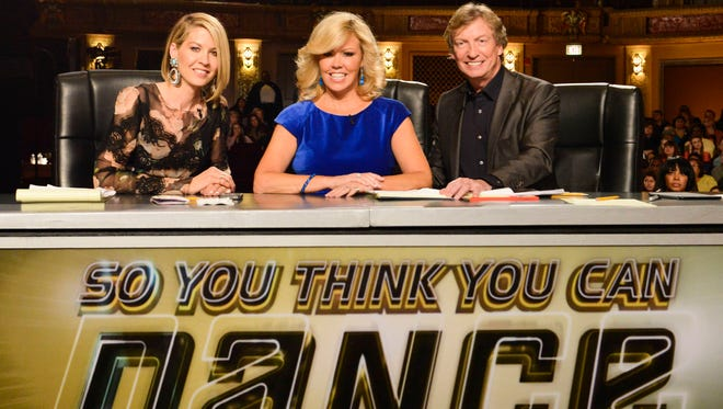 Guest Judge Jenna Elfman, Mary Murphy and Nigel Lythgoe check out the competition at the Chicago auditions for the 11th season of 'So You Think You Can Dance' on Fox