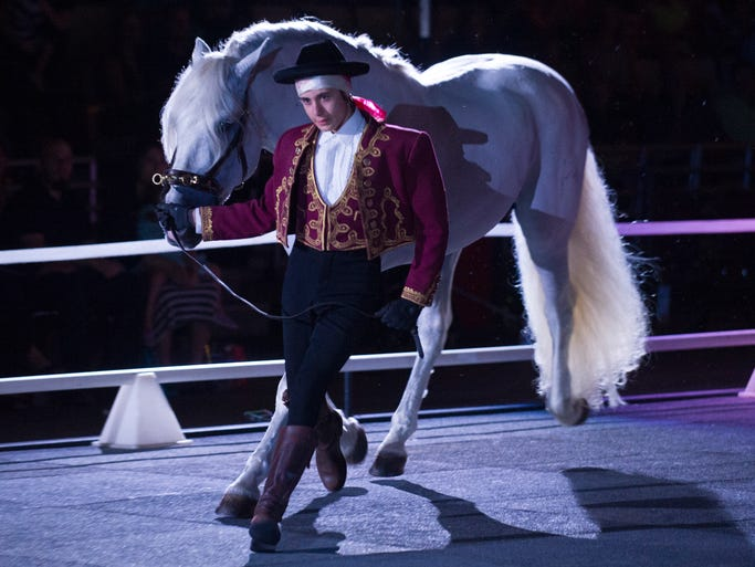 Horses and their trainers and riders perform routines during a performance of the Gala of the Royal Horses at the Cajundome in Lafayette, La., Saturday, Aug. 2, 2014. Paul Kieu, The Advertiser