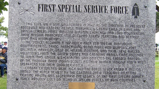 This sign at Fort William Henry Harrison in Helena, Montana, gives a brief history of the First Special Service Force, the Force.