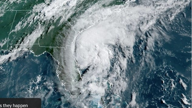 This image captured on Monday morning, August 3, 2020, shows Isaias just off the northeastern coast of Florida and headed toward landfall near the South Carolina/North Carolina border during Monday night.