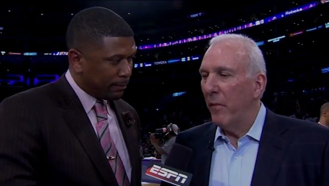 ESPN's Jalen Rose interviewed Spurs coach Gregg Popovich during Wednesday's Spurs-Lakers game.