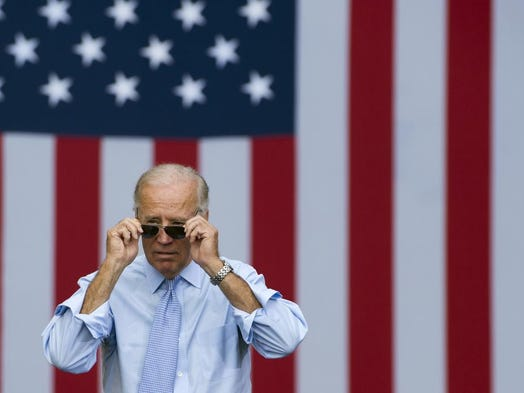 Vice President Joe Biden at a campaign event with President Barack Obama at Strawbery Banke Field in Portsmouth, New Hampshire, in 2012.