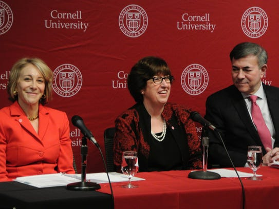 New Cornell University President Martha Pollack, center,