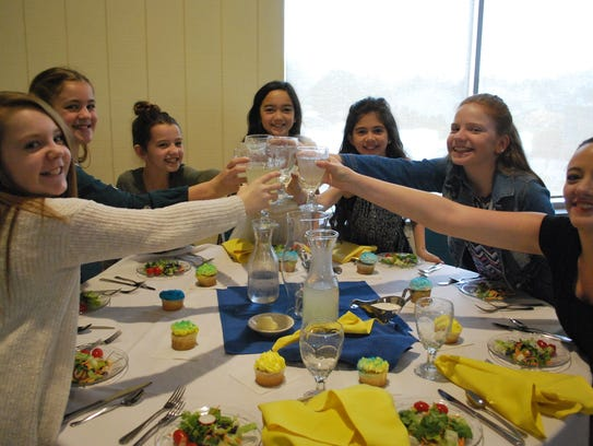 Green Springs School fifith graders enjoy a toast at