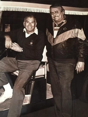 Game show host Dennis James (seated) and Bobby Thomas Sr. James hosted numerous charity events in the Coachella Valley, including the Dennis James Celebrity Golf Classic.