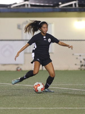 Isa Whalen takes part in a recent Guam Women's National Team training session at the Guam Football Association National Training Center in this file photo. Whalen accepted a full academic scholarship to the University of Washington and has received an invitation to try out for the university's women's soccer team.
