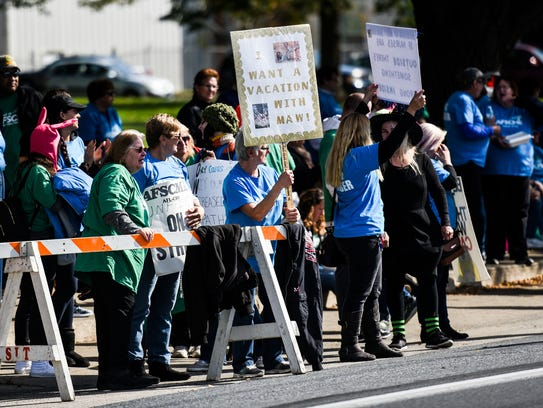 Cedar Haven Nursing Home employees of AFSCME Local 2732 held a rally along with members of the Pennsylvania AFL-CIO other unions outside of Cedar Haven on Friday, Oct. 27, 2017.