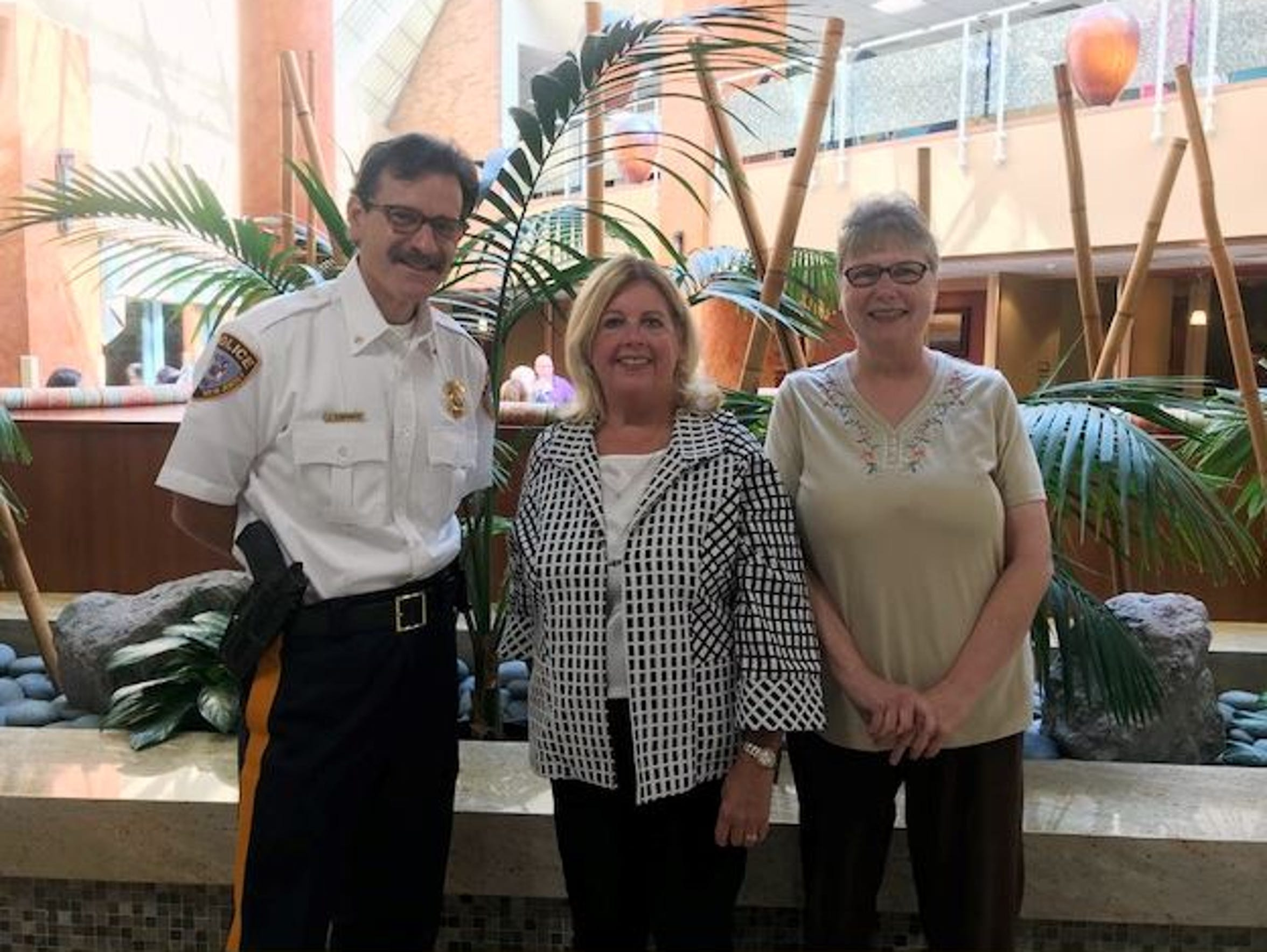 Sayreville Chief of Police John Zebrowski, Marge Drozd, Director, Saint Peter's Community Health Services, and Spotswood mom Jean Stevenson are delivering presentations in the community about the dangers of addiction.  The presentations are part of a Saint Peter's Opioid Addiction Treatment Task Force initiative.