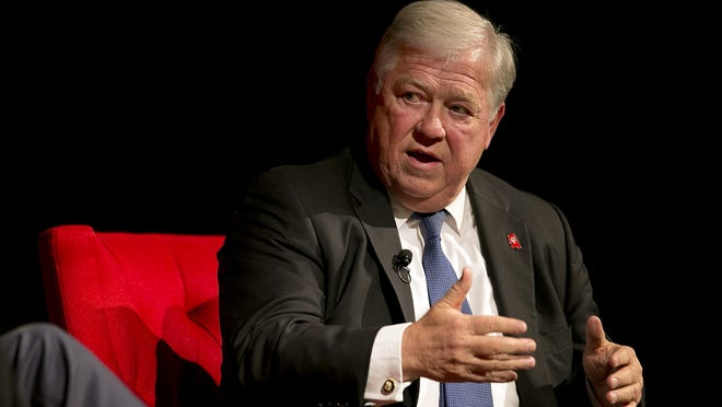 Former Mississippi Gov. Haley Barbour speaks during the Civil Rights Summit at the Lyndon B. Johnson Presidential Library, Tuesday, April 8, 2014, in Austin, Texas. (AP Photo/Statesman.com, Deborah Cannon, Pool) ORG XMIT: TXAUS467