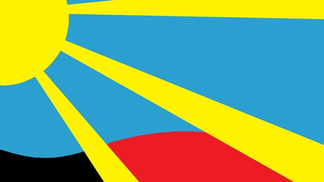 This flag -- with yellow rays of sunshine in a bright blue skye shining across rolling his of black and red, colors that signify pride in the school and community -- was selected as the official flag for the City of Brandon.
