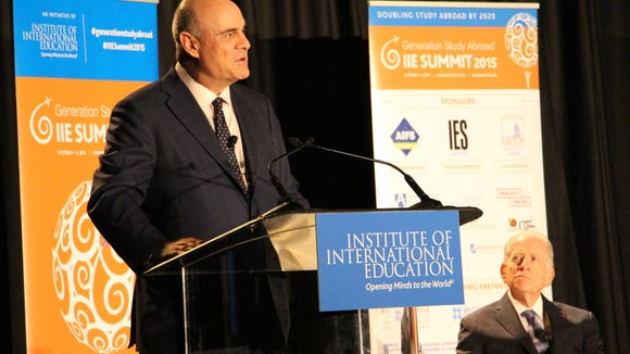 AIG President and CEO Peter Hancock discusses the influence that study abroad has on employment. Photo courtesy of the Institute of International Education.