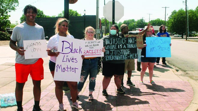 About two dozen people gathered at the park at the intersection of Second and Broadway for a Black Lives Matter protest last Thursday. The event remained peaceful throughout and no arrests were made.