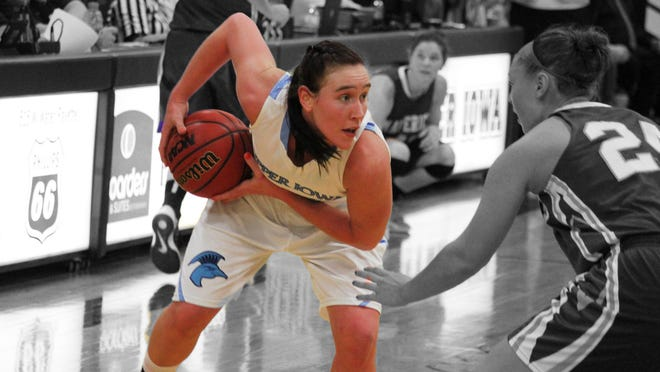 Whitney Kieffer, both at River Ridge/Scales Mound and here playing for NCAA Division II Upper Iowa, always looked to drive to the basket.