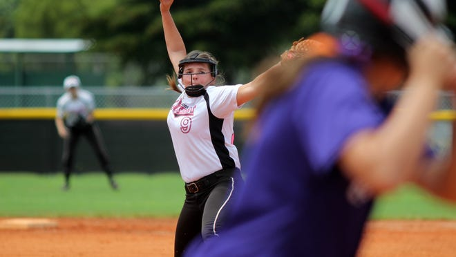 Annette Castaldo pitches during District 9's game against North Carolina in the pool final Monday.