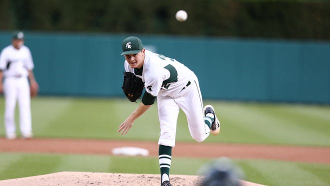 Spartans starting pitcher Alex Troop gave up seven hits and two runs to earn the win in MSU's 4-2 victory over Michigan Tuesday at Detroit's Comerica Park.