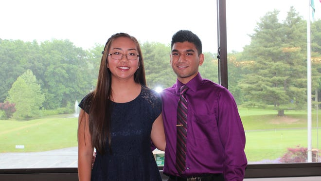 Vassar Brothers Medical Center Auxiliary Scholarship winners Tina Jing and Neil Patel. Scholarship winner Prachi Patel is not pictured.