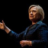 Former secretary of State Hillary Rodham Clinton speaks to a crowd in Saskatoon, Saskatchewan, on Jan. 21, 2015.