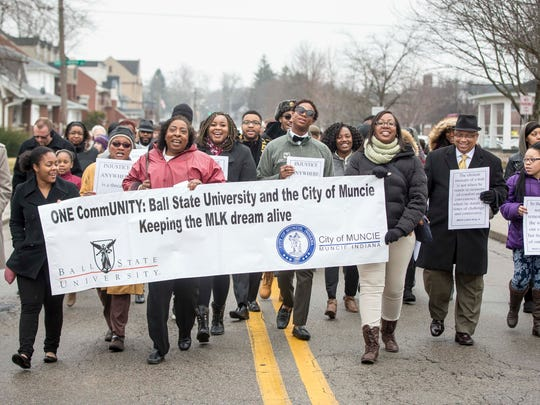 Participants join in a past Martin Luther King Jr. Day march on Ball  State University's campus in this file photo.
