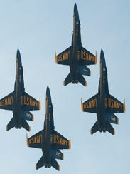 Precision formation flying by these U.S. Navy Blue