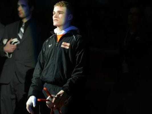 Hanover's Ian Brown is introduced before the 132-pound championship bout. (Chris Dunn -- GameTimePA.com)
