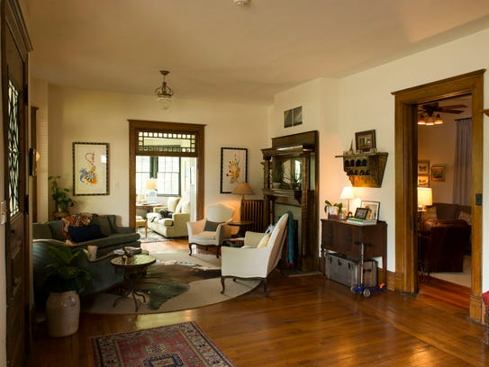 The living room at Pinecrest as it appears today. The Stairs removed a door between the living room and the sunroom.