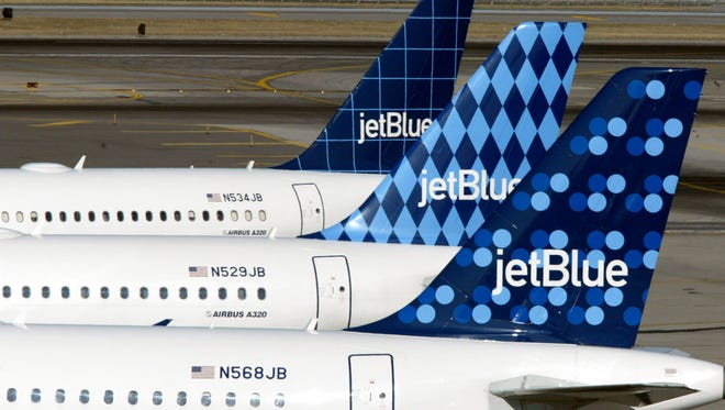JetBlue aircraft at New York JFK on Feb. 23, 2004.