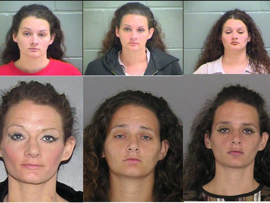 Police mug shots of Alicia Bishop, now 36, from Kenton County and Hamilton County jails. Between 2008 and 2015, Bishop estimates she was arrested over 50 times.