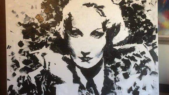 Marlene Dietrich, in oil, by Matthew Jacobson