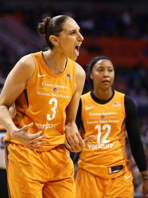 Phoenix Mercury's Diana Taurasi yells at her teammates as the Dallas Wings make a run in the second half on May 18, 2018 at Taking Stick Resort Arena in Phoenix, Ariz.