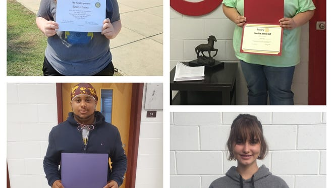October 2020 Barnwell County Rotary Club 'Service Above Self' Students of the Month: (clockwise from top left) Emily Clancy, Albany Platts, Abbie Grace Weeks, and Joseph Kemp.